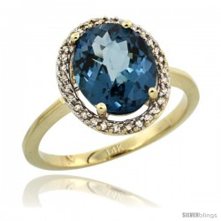 14k Yellow Gold Diamond Halo London-Blue Topaz Ring 2.4 carat Oval shape 10X8 mm, 1/2 in (12.5mm) wide