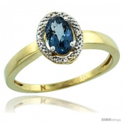 14k Yellow Gold Diamond Halo London Blue Topaz Ring 0.75 Carat Oval Shape 6X4 mm, 3/8 in (9mm) wide