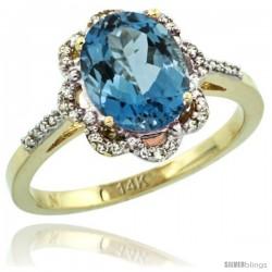 14k Yellow Gold Diamond Halo London Blue Topaz Ring 1.65 Carat Oval Shape 9X7 mm, 7/16 in (11mm) wide
