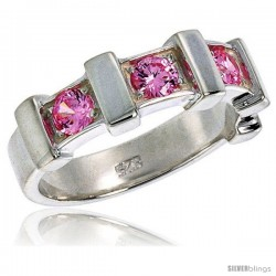 Sterling Silver Pink Tourmaline Colored CZ Eternity Band Ring