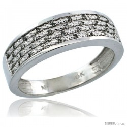 10k White Gold Men's Diamond Ring Band w/ 0.12 Carat Brilliant Cut Diamonds, 1/4 in. (6.5mm) wide