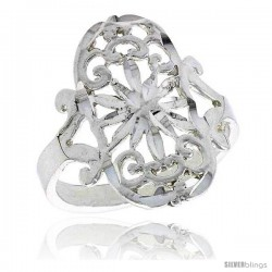 Sterling Silver Floral Pattern Filigree Ring, 3/4 in -Style Fr413