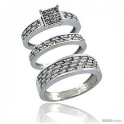 10k White Gold 3-Piece Trio His (6.5mm) & Hers (3.5mm) Diamond Wedding Ring Band Set w/ 0.328 Carat Brilliant Cut Diamonds