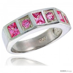 Sterling Silver Princess Cut Pink Tourmaline Colored CZ Ring -Style Rcz439