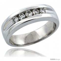 10k White Gold 5-Stone Ladies' Diamond Ring Band w/ 0.30 Carat Brilliant Cut Diamonds, 7/32 in. (5.5mm) wide