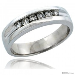 10k White Gold 6-Stone Men's Diamond Ring Band w/ 0.36 Carat Brilliant Cut Diamonds, 7/32 in. (5.5mm) wide