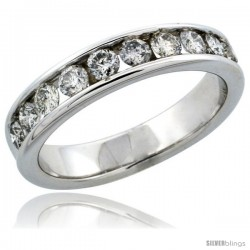10k White Gold 10-Stone Ladies' Diamond Ring Band w/ 0.74 Carat Brilliant Cut Diamonds, 3/16 in. (4.5mm) wide