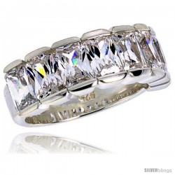 Highest Quality Sterling Silver 5/16 in (8 mm) wide Wedding Band, Emerald Cut CZ Stones
