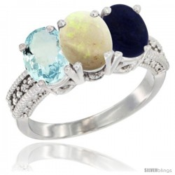 14K White Gold Natural Aquamarine, Opal & Lapis Ring 3-Stone Oval 7x5 mm Diamond Accent