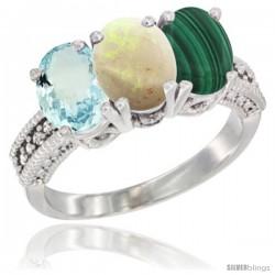 14K White Gold Natural Aquamarine, Opal & Malachite Ring 3-Stone Oval 7x5 mm Diamond Accent