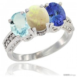14K White Gold Natural Aquamarine, Opal & Tanzanite Ring 3-Stone Oval 7x5 mm Diamond Accent