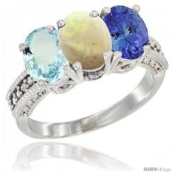 14K White Gold Natural Aquamarine, Opal & Tanzanite Ring 3-Stone Oval 7x5 mm Diamond Accent