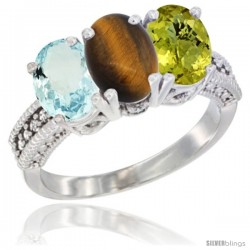 14K White Gold Natural Aquamarine, Tiger Eye & Lemon Quartz Ring 3-Stone Oval 7x5 mm Diamond Accent