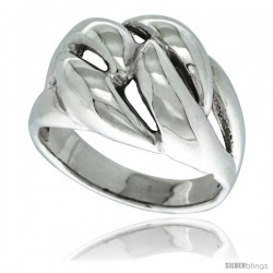 Sterling Silver Domed Love Knot Ring 5/8 in wide