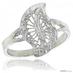 Sterling Silver Leaf-like Swirl Filigree Ring, 5/8 in