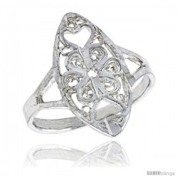 Sterling Silver Navette-shaped Floral Filigree Ring, 3/4 in, w/ Heart Cut-outs