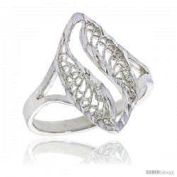 Sterling Silver Navette-shaped Filigree Ring, 3/4 in, w/ Swirl Cut-out