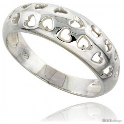Sterling Silver Domed Band w/ Heart Cut-outs Flawless finish 5/16 in wide