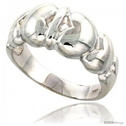 Sterling Silver Hearts Band Flawless finish 3/8 in wide