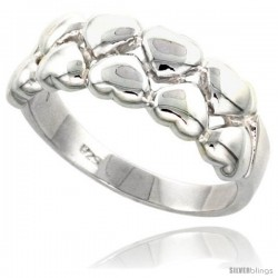 Sterling Silver Hearts Band Flawless finish 3/8 in wide -Style Trp465