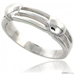 Sterling Silver 2-Heart Ring Flawless finish 1/4 in wide