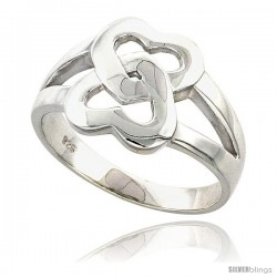 Sterling Silver Interlocking Hearts Ring Flawless finish 1/2 in wide
