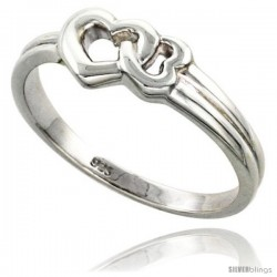 Sterling Silver Interlocking Hearts Ring Flawless finish 5/16 in wide