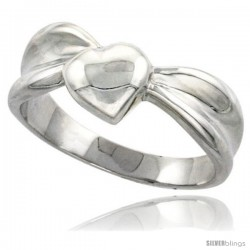Sterling Silver Domed Heart Ring Flawless finish 5/16 in wide