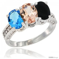 14K White Gold Natural Swiss Blue Topaz, Morganite & Black Onyx Ring 3-Stone 7x5 mm Oval Diamond Accent