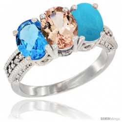 14K White Gold Natural Swiss Blue Topaz, Morganite & Turquoise Ring 3-Stone 7x5 mm Oval Diamond Accent