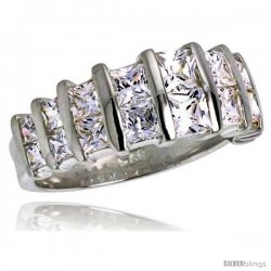 Highest Quality Sterling Silver 3/8 in (9 mm) wide Wedding Band, Princess Cut CZ Stones