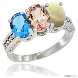 14K White Gold Natural Swiss Blue Topaz, Morganite & Opal Ring 3-Stone 7x5 mm Oval Diamond Accent