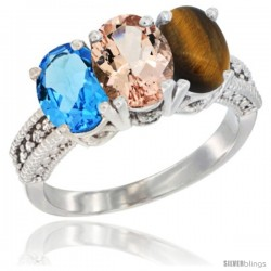 14K White Gold Natural Swiss Blue Topaz, Morganite & Tiger Eye Ring 3-Stone 7x5 mm Oval Diamond Accent
