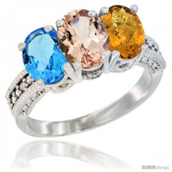 14K White Gold Natural Swiss Blue Topaz, Morganite & Whisky Quartz Ring 3-Stone 7x5 mm Oval Diamond Accent
