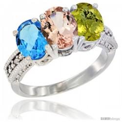 14K White Gold Natural Swiss Blue Topaz, Morganite & Lemon Quartz Ring 3-Stone 7x5 mm Oval Diamond Accent