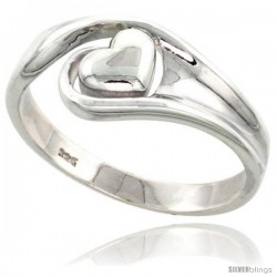 Sterling Silver Heart Ring Flawless finish 5/16 in wide