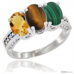 14K White Gold Natural Citrine, Tiger Eye & Malachite Ring 3-Stone 7x5 mm Oval Diamond Accent