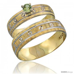 10k Gold 2-Piece 0.25 Carat Green Sapphire Ring Set (Engagement Ring & Man's Wedding Band) Diamond-cut Pattern -Style 10y505em