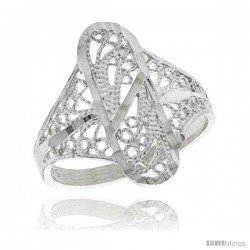 Sterling Silver Oval Filigree Ring, 3/4 in