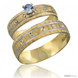10k Gold 2-Piece 0.25 Carat Light Blue Sapphire Ring Set (Engagement Ring & Man's Wedding Band) Diamond-cut -Style 10y505em