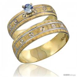 10k Gold 2-Piece 0.25 Carat Light Blue Sapphire Ring Set (Engagement Ring & Man's Wedding Band) Diamond-cut -Style 10y505em