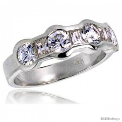 Highest Quality Sterling Silver 1/4 in (6 mm) wide Wedding Band, Bezel Set Brilliant Cut CZ Stones