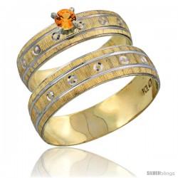 10k Gold 2-Piece 0.25 Carat Orange Sapphire Ring Set (Engagement Ring & Man's Wedding Band) Diamond-cut Pattern -Style 10y505em