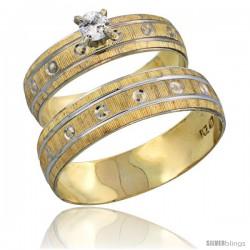 10k Gold 2-Piece 0.25 Carat White Sapphire Ring Set (Engagement Ring & Man's Wedding Band) Diamond-cut Pattern -Style 10y505em
