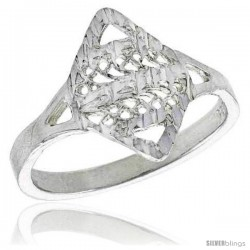 Sterling Silver Diamond-shaped Filigree Ring, 1/2 in