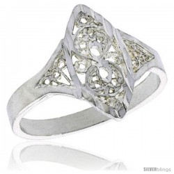 Sterling Silver Navette-shaped Filigree Ring, 1/2 in