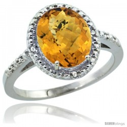 10k White Gold Diamond Whisky Quartz Ring 2.4 ct Oval Stone 10x8 mm, 1/2 in wide -Style Cw926111