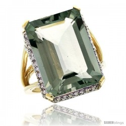 10k Yellow Gold Diamond Green-Amethyst Ring 14.96 ct Emerald shape 18x13 mm Stone, 13/16 in wide