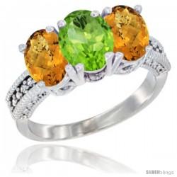 10K White Gold Natural Peridot & Whisky Quartz Sides Ring 3-Stone Oval 7x5 mm Diamond Accent