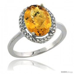 10k White Gold Diamond Whisky Quartz Ring 2.4 ct Oval Stone 10x8 mm, 1/2 in wide -Style Cw926114
